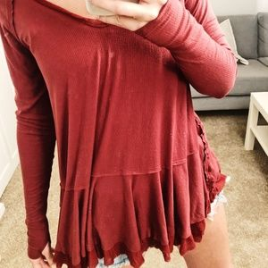 Free People Brickstone Flowy Top with Thumb Holes